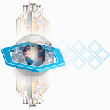 Abstract background with Electronic circuits and Earth globe. Three dimensions composition with Earth globe in glass button/sphere surrounded by integrated Stock Illustration