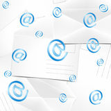 Abstract background with envelopes and at. Illustration of abstract background with envelopes and at Stock Photo