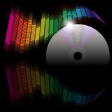Abstract Background - Equalizer and CD Disc. Abstract Background - Multicolor Equalizer and CD disc on Black Background / Vector stock illustration