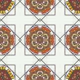 Abstract background with ethnic ornament pattern. Geometric ethnic ornament seamless pattern. Endless background for card template, greetings, invitations or Royalty Free Stock Images