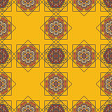 Abstract background with ethnic ornament pattern. Geometric ethnic ornament seamless pattern. Endless background for card template, greetings, invitations or Stock Illustration