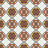 Abstract background with ethnic ornament pattern. Geometric ethnic ornament seamless pattern. Endless background for card template, greetings, invitations or Vector Illustration
