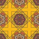 Abstract background with ethnic ornament pattern. Geometric ethnic ornament seamless pattern. Endless background for card template, greetings, invitations or Stock Photos