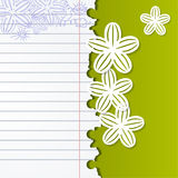 Abstract background with exercise books and white flowers Stock Images