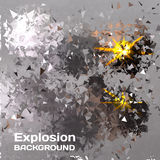 Abstract background of exploding balls polygonal.  Royalty Free Stock Image