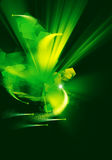 Abstract background explosion in a space. Explosion in space with scattering crystals and comets in green and yellow color Stock Image