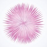 Abstract background. Explosion. Vector drawing. Artistic bright violet barb circle midpoint drawing shape design. Optical illusion lilac fuzz prickly form in art stock illustration