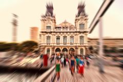 Abstract background. Facade of Barcelona port building in city c Stock Photo