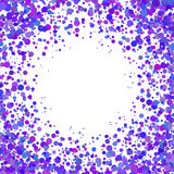 Abstract background with falling blue purple confetti. Empty space for text. Background for holiday cards, greetings. Blue purple paper confetti on white Stock Photos