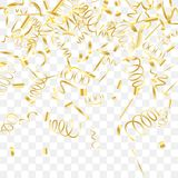 Abstract background with falling golden confetti. Gold shine of confetti. Abstract background with falling golden tiny confetti. Luxury festive background for Stock Photo