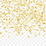 Abstract background with falling golden confetti. Gold shine of confetti. Abstract background with falling golden tiny confetti. Luxury festive background for vector illustration