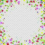 Abstract background with falling multicolored confetti. Empty space for text. Background for holiday cards, greetings. Royalty Free Stock Photos