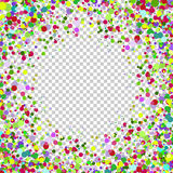 Abstract background with falling multicolored confetti. Empty space for text. Background for holiday cards, greetings. Multicolored paper confetti on royalty free illustration