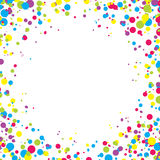 Abstract background with falling multicolored confetti. Empty space for text. Background for holiday cards, greetings. Multicolored paper confetti on white vector illustration