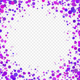 Abstract background with falling purple confetti. Empty space for text. Background for holiday cards, greetings. Purple paper confetti on transparent background Royalty Free Stock Photo