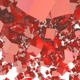Abstract background of falling red cubes mirror Royalty Free Stock Photography