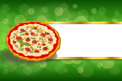 Abstract background fast food pizza orange green red stripes gold frame illustration. Vector Stock Images
