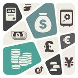 Abstract background with finance and money theme icons.  Royalty Free Stock Photography