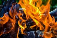 Abstract background of fire, coals, flames and twisting elements of ash.  Royalty Free Stock Photo