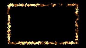Abstract background with fire frame on black backdrop. Abstract background with fire frame isolated on black backdrop. 3d rendering Royalty Free Stock Photo