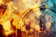 Abstract background with fireworks and clock close to midnight. Background of holiday lights and clock close to midnight royalty free illustration
