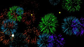 Abstract background with fireworks. Digital illustration. 3d rendering stock illustration