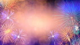 Abstract  Background With Fireworks.Background of new years day celebration Many colorful
