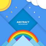 Abstract background. Flat style nature landscape with the sun, clouds on the sky, rainbow and mountains. Modern material design vector illustration stock illustration