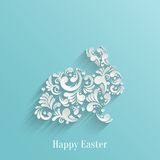 Abstract Background with Floral Easter Rabbit. Bunny, Trendy Design Template stock illustration