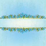 Abstract background with floral ornament. Abstract grunge blue background with floral ornament Royalty Free Stock Photography
