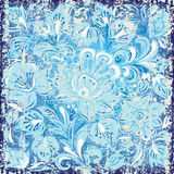Abstract background with floral ornament blue. Abstract background with grunge floral ornament blue stock illustration