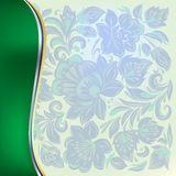 Abstract background with floral ornament on green. Abstract background with blue floral ornament on green vector illustration