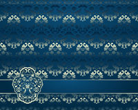 Abstract background with floral ornament. Illustration of abstract golden ornament on blue background with banner stock illustration