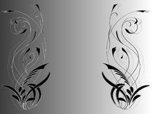 Abstract background with floral ornament on the sides of the picture in shades of gray. Vector illustration Stock Image