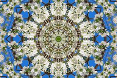 Abstract background of floral pattern of a kaleidoscope. White blue green background fractal mandala. abstract kaleidoscopic arabesque. geometrical ornament stock images