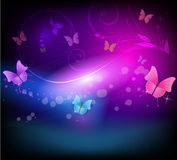 Abstract background with florals and butterflies i. Abstract vector shiny horizontal background with floral elements and color butterflies in dark colors Stock Photos