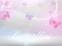 Abstract background with florals and butterflies. Abstract vector shiny horizontal background with floral elements and color butterflies Stock Photography