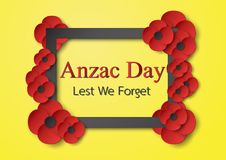 Abstract background with flower for Anzac Day on 25 April. Paper. Craft design with copy space royalty free illustration