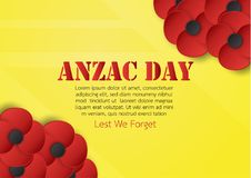 Abstract background with flower for Anzac Day on 25 April. Paper. Craft design with copy space vector illustration