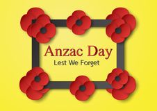 Abstract background with flower for Anzac Day on 25 April. Paper. Craft design with copy space stock illustration