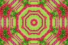 Abstract background of flower pattern of a kaleidoscope. Red green background mandala. abstract kaleidoscopic arabesque. geometrical ornament floral pattern royalty free stock photo