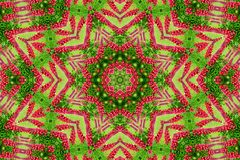Abstract background of flower pattern of a kaleidoscope. Red green background mandala. abstract kaleidoscopic arabesque. geometrical ornament floral pattern royalty free stock photography