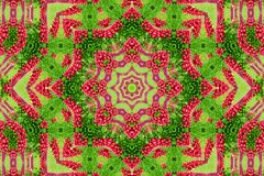 Abstract background of flower pattern of a kaleidoscope. Red green background mandala. abstract kaleidoscopic arabesque. geometrical ornament floral pattern royalty free stock image