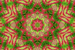 Abstract background of flower pattern of a kaleidoscope. Red green background fractal mandala. abstract kaleidoscopic arabesque. geometrical ornament  floral stock photos