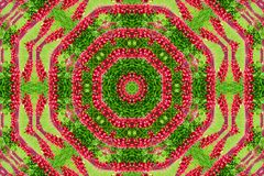 Abstract background of flower pattern of a kaleidoscope. Red green background fractal mandala. abstract kaleidoscopic arabesque. geometrical ornament  floral stock photo