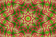 Abstract background of flower pattern of a kaleidoscope. Red green background fractal mandala. abstract kaleidoscopic arabesque. geometrical ornament  floral stock photography