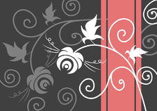 Abstract background with flowers. And swirls, vector illustration Stock Photography