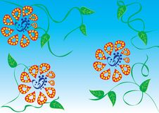 Abstract background with flowers. Butterflies and hearts. illustration Royalty Free Stock Images