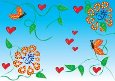 Abstract background with flowers. Butterflies and hearts. illustration Stock Photos