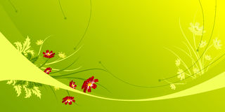 Abstract background with Flowers. Abstract green modern background with waves and flowers Royalty Free Stock Photography